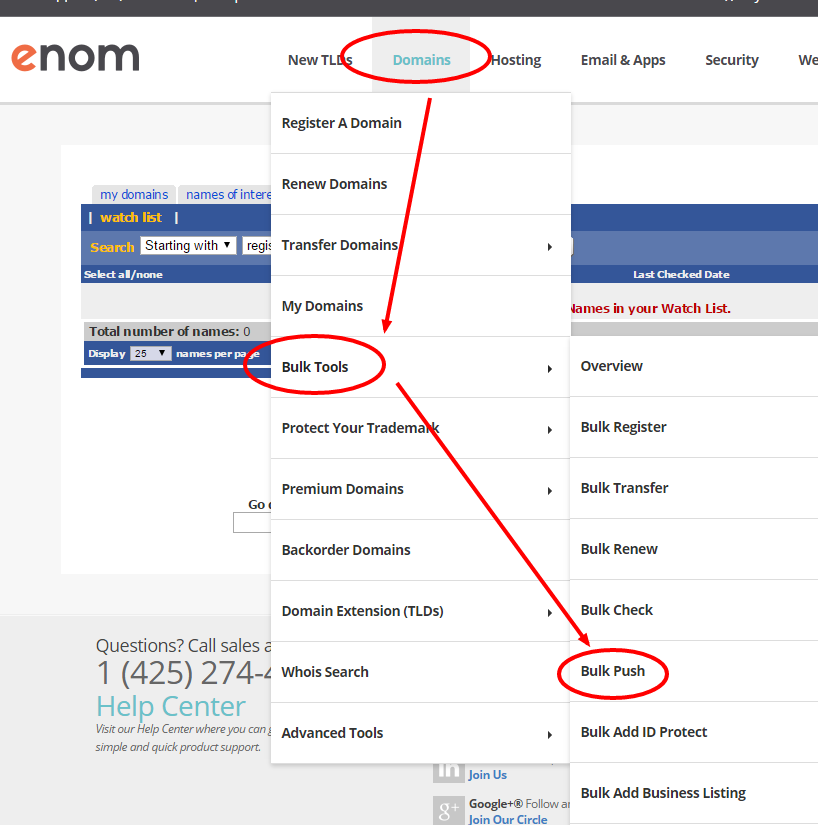 moving or pushing a domain into another Enom account
