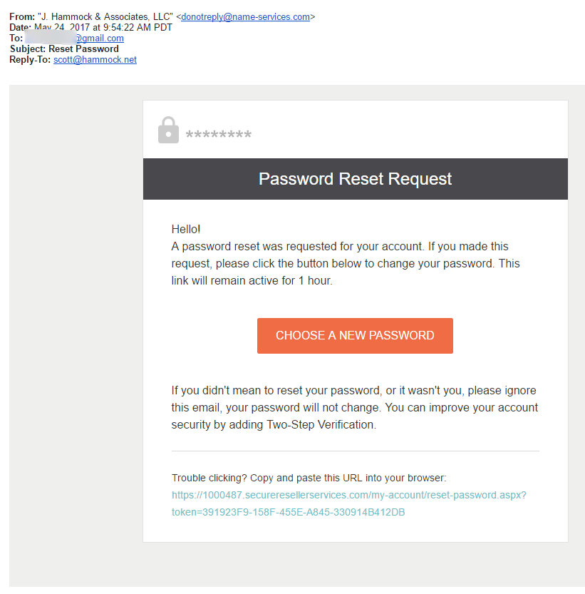 Password Reset Email Screenshot